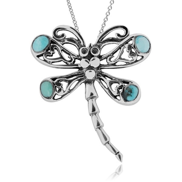 Journee Collection Sterling Silver Turquoise Dragonfly Necklace