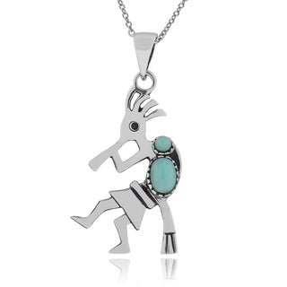 Journee Collection Sterling Silver Turquoise Kokopelli Pendant