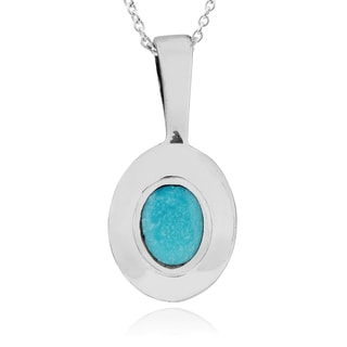 Journee Collection Sterling Silver Oval Turquoise Pendant