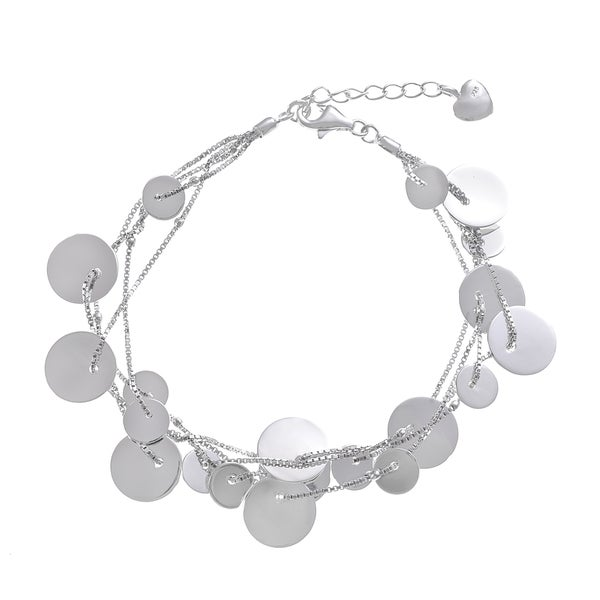 Journee Collection Sterling Silver Circle Charm Bracelet
