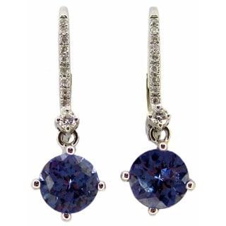 Kabella 14k White Gold Tanzanite and Diamonds Leverback Earrings