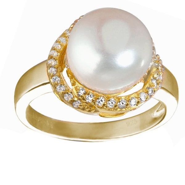 Goldplated Silver Freshwater Pearl and White Cubic Zirconia Ring