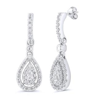 Sterling Silver 1/7ct TDW Diamond Pear-shaped Dangle Earrings (I-J, I2-I3)
