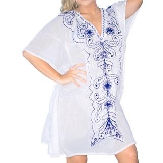 La Leela Women's Blue Embroidered V-Neck Beach Swim Cover-up Kaftan