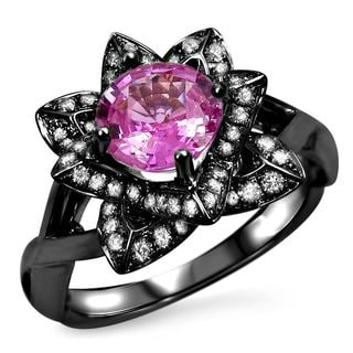 Noori 14k Black Gold Over White Gold Round Pink Sapphire 2/5ct TDW Diamond Lotus Flower Engagement Ring (G-H, SI1-SI-2)