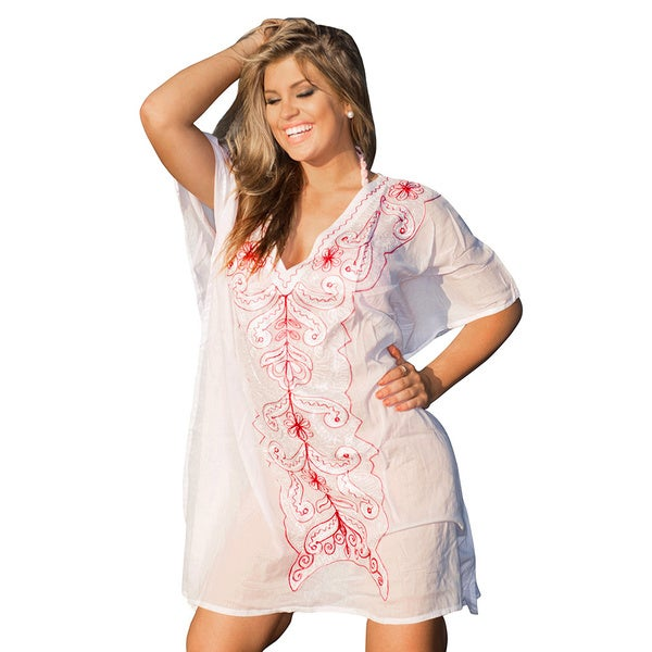 La Leela Bikini Cover up SOFT COTTON Embroidered Kimono Bikini TOP Beachwear TUNIC Dress Red