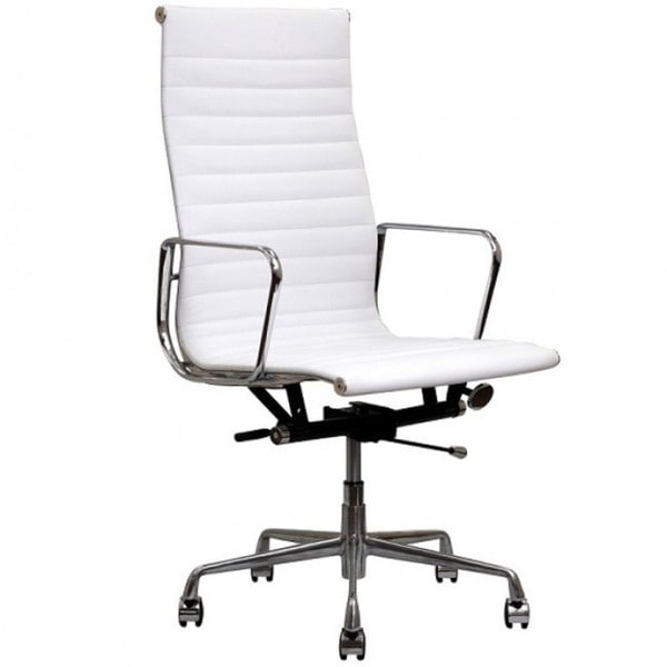 Contemporary Eames Style Executive White Top Grain Leather Designer Office Chair