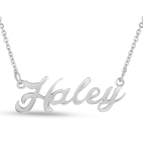 Silverplated Brass 'Haley' Nameplate Necklace