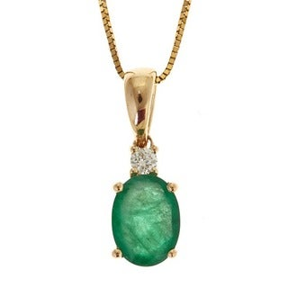 Anika and August 14k Yellow Gold Oval-Cut Emerald Diamond Accent Necklace