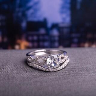 Miadora 10k White Gold Created White Sapphire and 1/6ct TDW Diamond Bridal Ring Set (G-H, I1-I2)