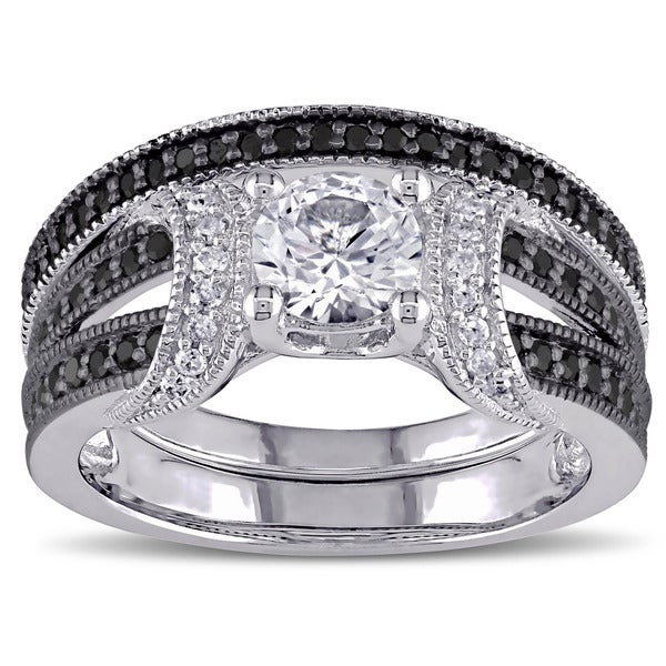Miadora Sterling Silver Created White Sapphire And 2 5ct TDW Black And White Diamond Bridal Ring