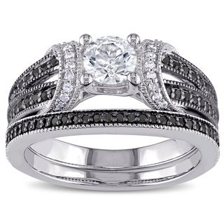 Miadora Sterling Silver Created White Sapphire and 2/5ct TDW Black and White Diamond Bridal Ring Set