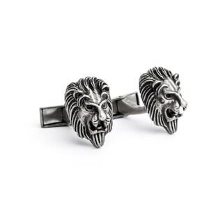 Distressed Silvertone Lion Cufflinks