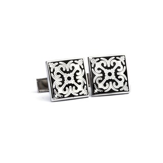 Silvertone High Polish Enamel Cufflinks