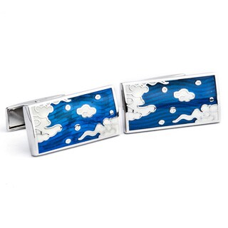 High Polished Blue Enamel Cufflinks