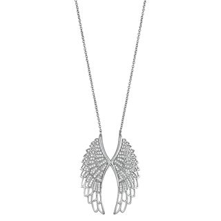 Sterling Silver Micropave Cubic Zirconia Double Wings Necklace