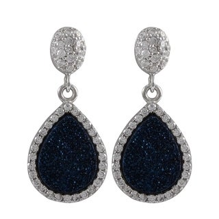 Sterling Silver Gold Finish Druzy and Cubic Zirconia Teardrop Earrings