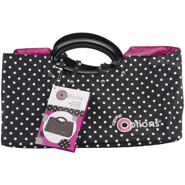 Creative Options Crochet Tote 13inX5.5inX8.875inBlack & White
