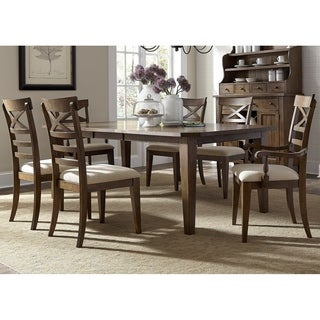 Hearthstone Traditional Rustic Oak 7-piece X-Back Dinette Set