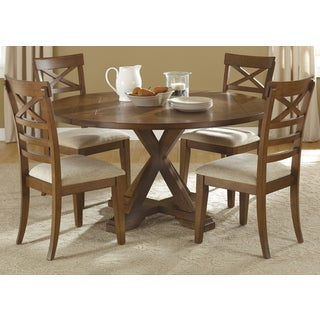Traditional Rustic Oak/Black 5-piece Drop Leaf X-Back Dinette Set