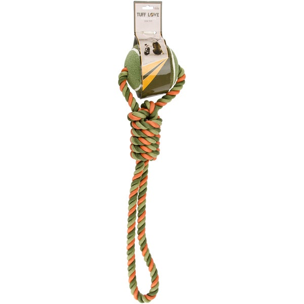Nandog Tuff Love Tennis & Rope Dog ToyNeon Orange/Green