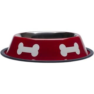 Fashion Steel Bowl Red W/White Bones 32oz