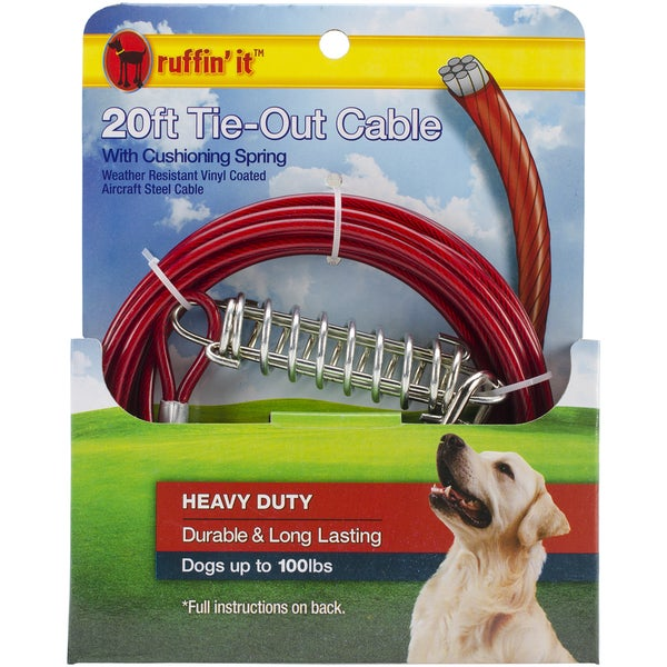 Heavy Duty Cable Tie Out W/Cushioning Spring 20ft