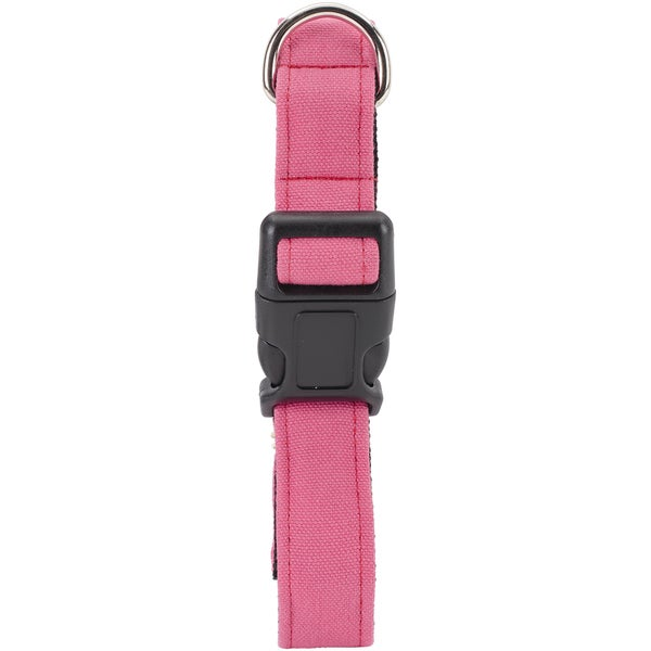 Medium Pink Dog Collar W/Welded DRing BuckleNeck Size 12inX18in, 1in Width