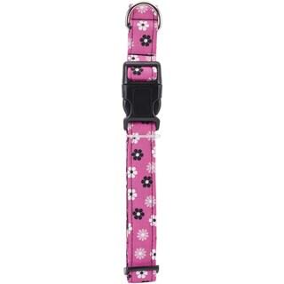 Medium Black Flower Dog Collar W/Welded DRing BuckleNeck Size 12inX18in, 1in Width