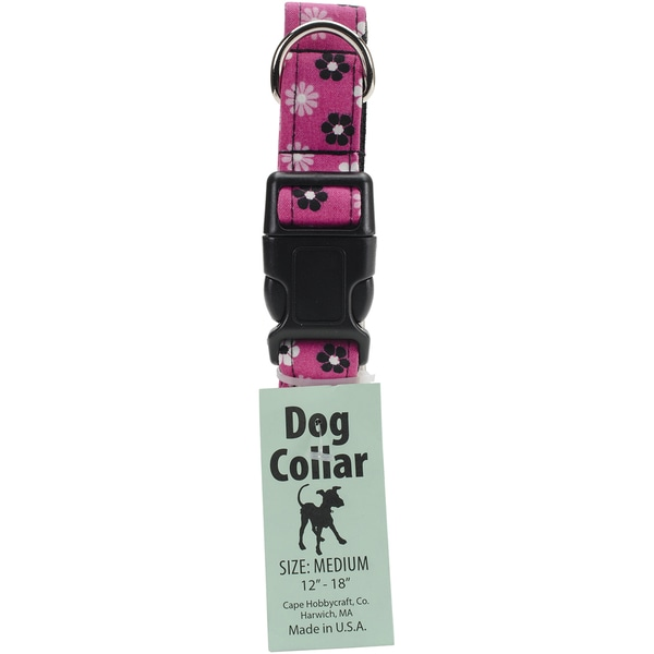 Medium Pink Flower Dog Collar W/Welded DRing BuckleNeck Size 12inX18in, 1in Width