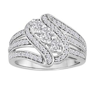Sterling Silver 1ct TDW Diamond Fashion Ring (I-J, I2-I3)