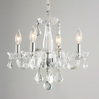 4-light with Clear Crystal Chandelier Chrome Finish