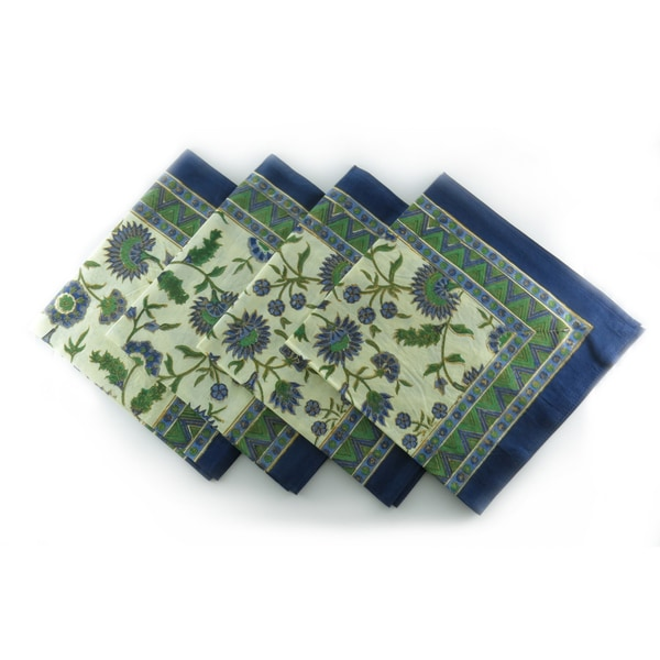 Hand Block Printed Blue with Gold-leaf Floral 100-percent Cotton Napkins (Set of 4) (India)
