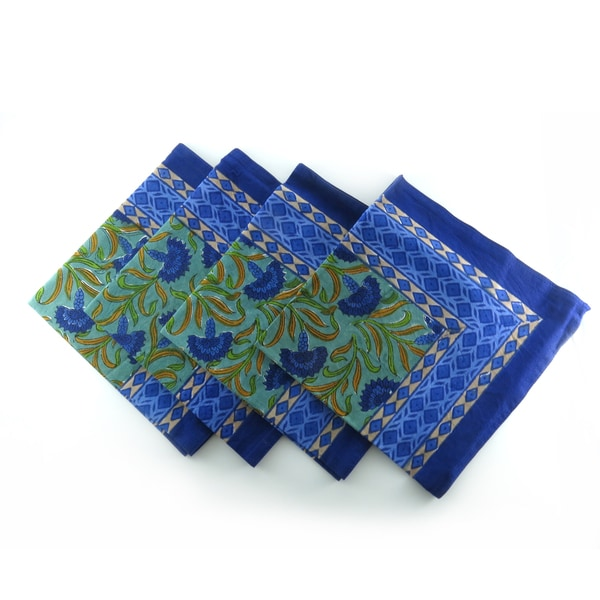 Hand Block Printed Blue Floral 100% Cotton Napkins (Set of 4) (India)