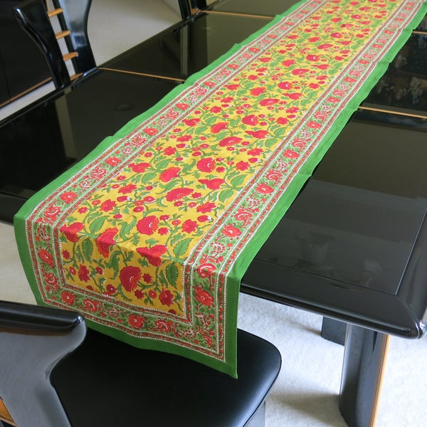 Hand Block Printed Orange and Red Floral Pattern 100% Cotton Table Runner (India)