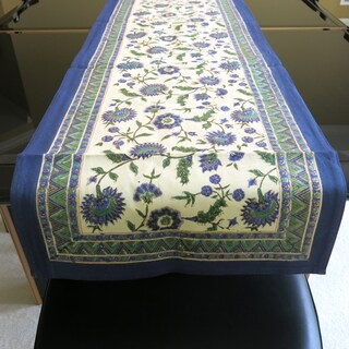 Hand Block Printed Blue with Gold-leaf Overlay 100% Cotton Table Runner (India)