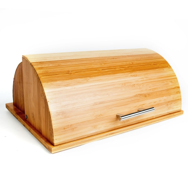 Bamboo Breadbox with Built-in Cutting Board
