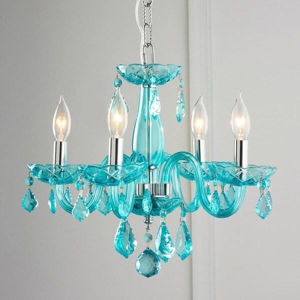 Glamorous 4-light Full Lead Coral Blue Crystal Chrome Finish Chandelier