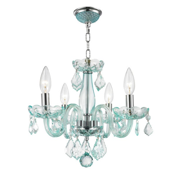 Glamorous 4-light Full Lead Coral Blue Crystal Chrome Finish Chandelier