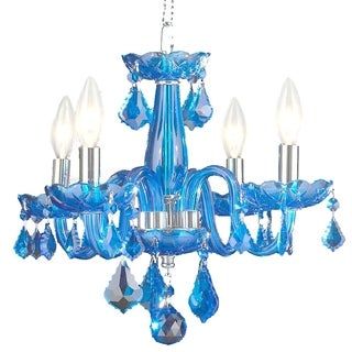 Modern Elegance 4-light Full Lead Sapphire Blue Crystal Chrome Finish Mini 16-inch Chandelier