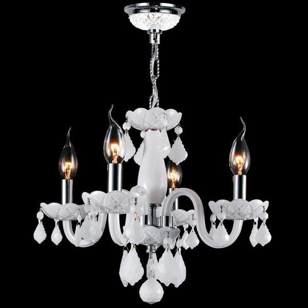 Glamorous 4-light Full Lead White Crystal Chrome Finish Chandelier