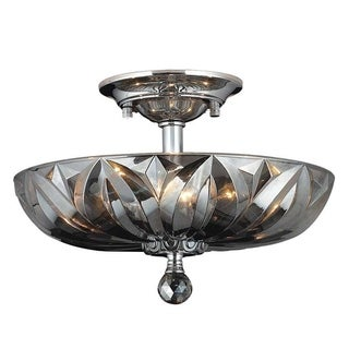 Contemporary 4-light Chrome Finish and Smoke Crystal 16-inch Bowl Semi Flush Mount Ceiling Light