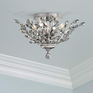Crystal Flower Floral 4-light Chrome Finish 20-inch Semi Flush Mount Ceiling Light