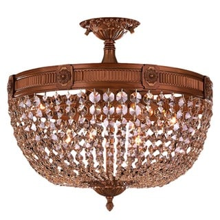 Traditional 6-light French Gold Finish with Golden Teak Full Lead Crystal 20-inch Semi-flush Mount Ceiling Light