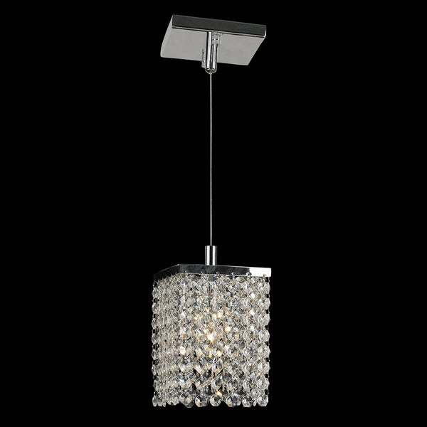light full lead crystal chrome finish square mini pendant light