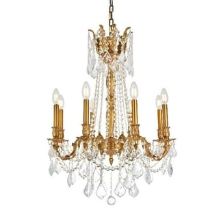 Traditional 8-light French Gold Finish with Full Lead Crystal Chandelier