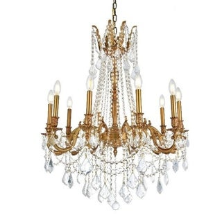 Traditional 10-light French Gold Finish with Full Lead Crystal Chandelier