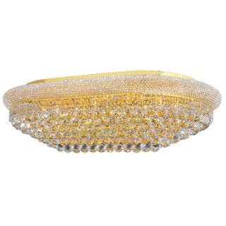 "French Empire 24-light Full Lead Crystal Gold Finish 40"" Rectangle Flush Mount Ceiling Light"
