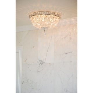 French Empire 6-light Full Lead Clear Crystal Chrome Finish 16-inch Round Flush Mount Ceiling Light