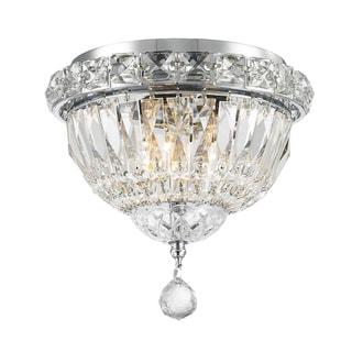 Empire 3-light Chrome Finish Full Lead Crystal Flush Mount Ceiling-light